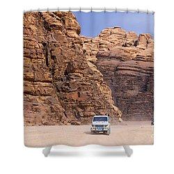 Four Wheel Drive Vehicles At Wadi Rum Jordan Shower Curtain by Robert Preston