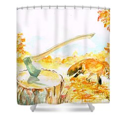 Fox In Autumn Shower Curtain