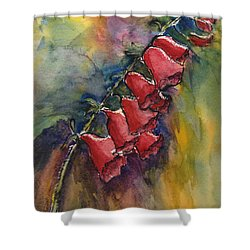Shower Curtain featuring the painting Foxgloves by Linda Feinberg