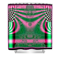 Fractal 34 Kimono In Pink And Green Shower Curtain by Rose Santuci-Sofranko
