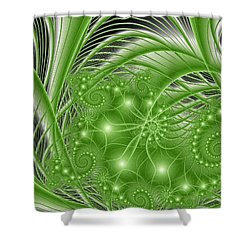 Fractal Abstract Green Nature Shower Curtain