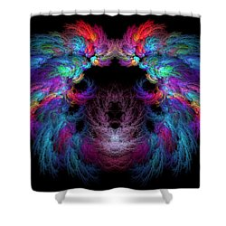 Fractal - Christ - Angels Wings Shower Curtain by Mike Savad