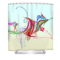 Fractal - Flying Bird Shower Curtain by Susan Savad