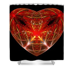 Fractal - Heart - Open Heart Shower Curtain by Mike Savad