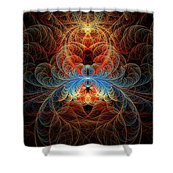 Fractal - Insect - Black Widow Shower Curtain by Mike Savad