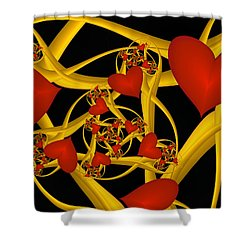 Fractal Love Ist Gold Shower Curtain