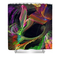 Fractal - Owl Swooping Shower Curtain by Susan Savad