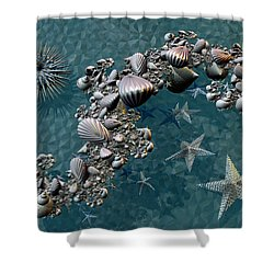 Shower Curtain featuring the digital art Fractal Sea Life by Manny Lorenzo