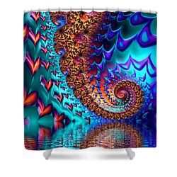 Fractal Sea Of Love With Hearts Shower Curtain