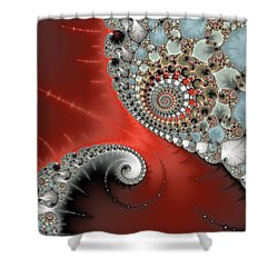 Fractal Spiral Art Red Grey And Light Blue Shower Curtain
