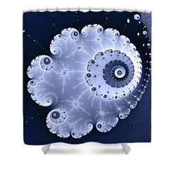 Fractal Spiral Light And Dark Blue Colors Shower Curtain