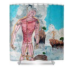 Fragiles Colossus Shower Curtain by Lazaro Hurtado