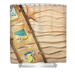 Frame With Postcards Shower Curtain by Amanda Elwell