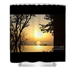 Framed Golden Sunset Shower Curtain