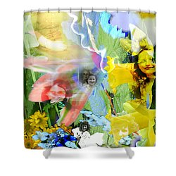 Shower Curtain featuring the digital art Framed In Flowers by Cathy Anderson
