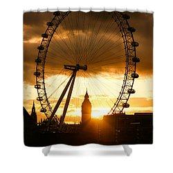 Framing The Sunset In London - The London Eye And Big Ben  Shower Curtain by Georgia Mizuleva