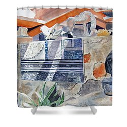 Shower Curtain featuring the painting Frank Lloyd Wright Taliesin West 2 by Carol Flagg