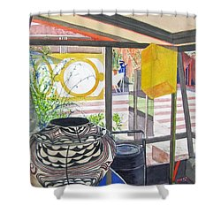 Shower Curtain featuring the painting Frank Lloyd Wright Taliesin West by Carol Flagg