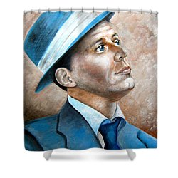 Frank Sinatra Ol Blue Eyes Shower Curtain by Patrice Torrillo