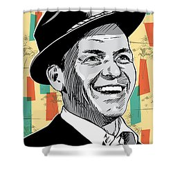 Frank Sinatra Pop Art Shower Curtain by Jim Zahniser
