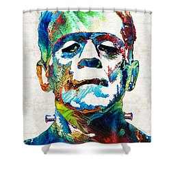 Frankenstein Art - Colorful Monster - By Sharon Cummings Shower Curtain