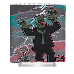 Frankenstein Creature In Storm  Shower Curtain