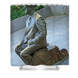 Franklin Delano Roosevelt In A Wheelchair Shower Curtain by Cora Wandel