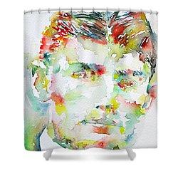 Franz Kafka Watercolor Portrait.2 Shower Curtain by Fabrizio Cassetta