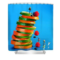 Free Falling Bodies Experiment On Fruit Tower Shower Curtain by Paul Ge