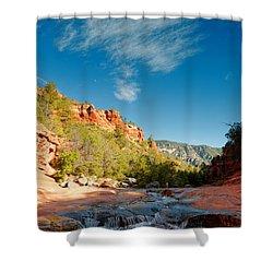 Free Flow At Oak Creek Shower Curtain by Silvio Ligutti