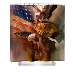 Shower Curtain featuring the mixed media Freedom Ridge by Carol Cavalaris