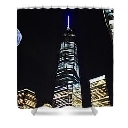 Freedom Tower And Blue Moon Shower Curtain by Natalie Ortiz