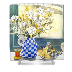 Freesias And Chequered Jug Shower Curtain by Julia Rowntree