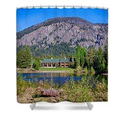Freestone Inn Lakeside View Shower Curtain by Omaste Witkowski