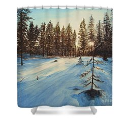 Freezing Forest Shower Curtain by Martin Howard