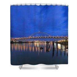 Fremont Bridge Blues Shower Curtain by David Gn