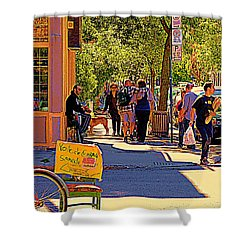 French Bread On Laurier Street Montreal Cafe Scene Sunny Corner With Vente De Garage Sign Shower Curtain by Carole Spandau