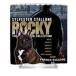 French Bulldog Art - Rocky Movie Poster Shower Curtain