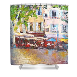 Shower Curtain featuring the painting French Cafe Avignon Palette Knife Oil Painting by Chris Hobel