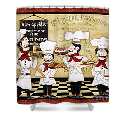 French Chefs-bon Appetit Shower Curtain by Jean Plout
