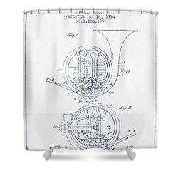 French Horn Patent From 1914 - Blue Ink Shower Curtain by Aged Pixel