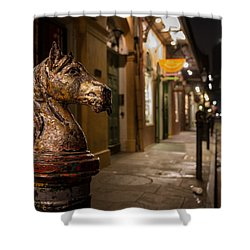 Shower Curtain featuring the photograph French Quarter Hitching Post by Tim Stanley