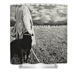 French Shepherd - B W Shower Curtain by Chuck Staley