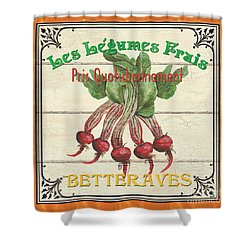 French Vegetable Sign 4 Shower Curtain by Debbie DeWitt
