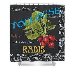 French Veggie Labels 3 Shower Curtain by Debbie DeWitt