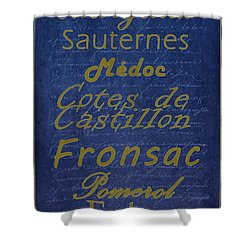 French Wines - 2 Champagne And Bordeaux Region Shower Curtain by Paulette B Wright