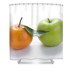 Shower Curtain featuring the photograph Fresh Apple And Orange On White by Lee Avison