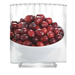 Shower Curtain featuring the photograph Fresh Cranberries In A White Bowl by Lee Avison