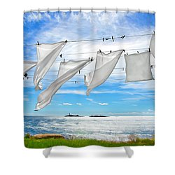 Fresh Laundry Shower Curtain by Donna Doherty