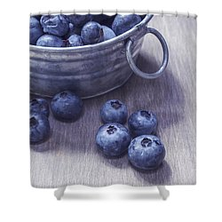Fresh Picked Blueberries With Vintage Feel Shower Curtain by Edward Fielding